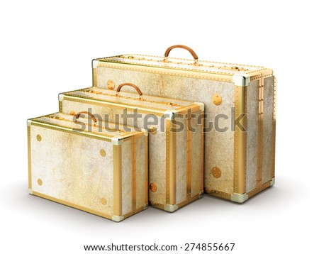 Vintage travel bags isolated on white background - stock photo