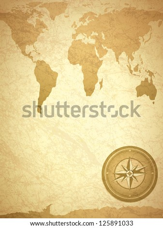 Vintage Travel Paper With Map and Compass - stock photo
