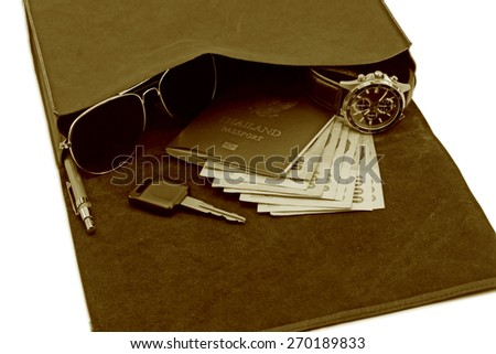 Vintage travel set for adventure concept - stock photo