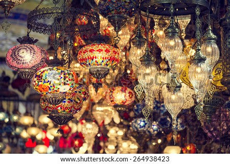 Vintage Turkish Lamps in Grand Bazaar Istanbul, Turkey  - stock photo