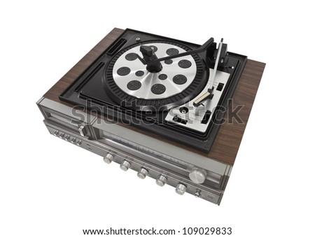 Vintage turn table stereo isolated with clipping path. - stock photo