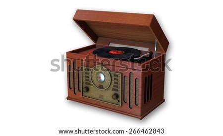 Vintage Turntable, Retro Gramophone isolated on white background - stock photo