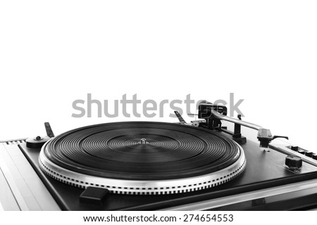 Vintage turntable vinyl record player isolated on white - stock photo