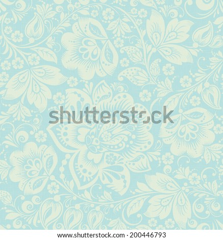 Vintage turquoise beige floral seamless pattern with dandelion. Raster version - stock photo