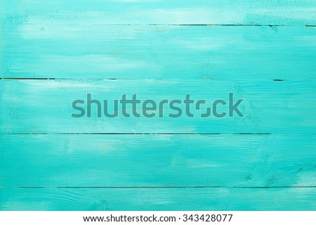 Vintage Turquoise Wood Board Painted Background - stock photo