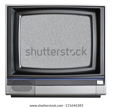 Vintage TV isolated on white background - stock photo