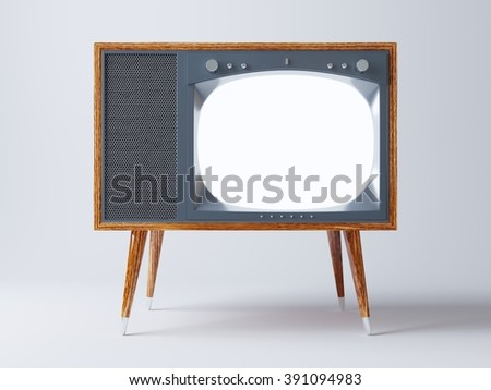 Vintage TV screen mock up. Vintage television on wooden legs, on white background. - stock photo
