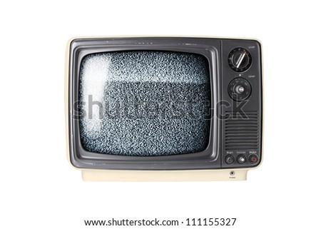 Vintage TV set isolated on white background with static - stock photo