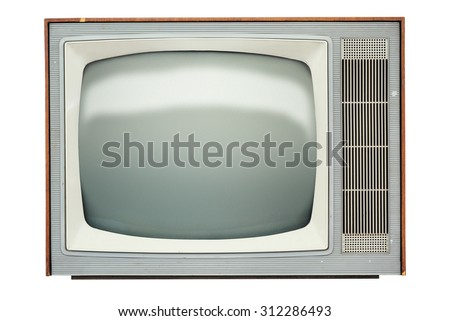 Vintage TV set isolated over white background - stock photo