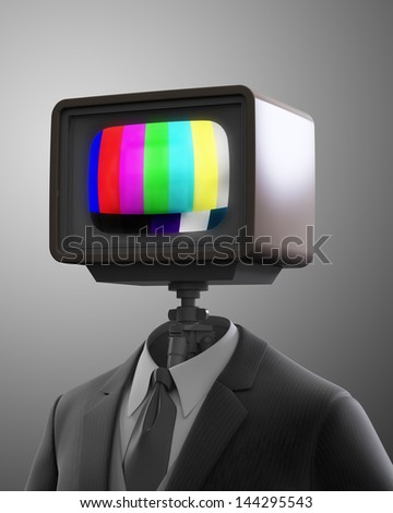Vintage TV set robot - multimedia concept - stock photo