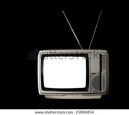 Vintage TV set with blank white screen on black background - stock photo
