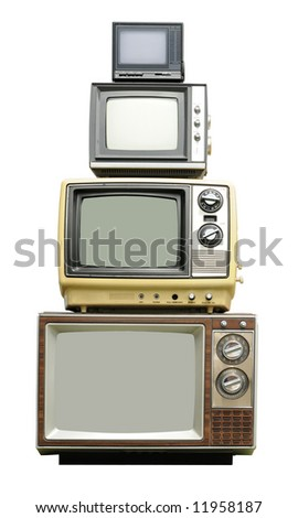 Vintage TV sets - arranged vertically - stock photo