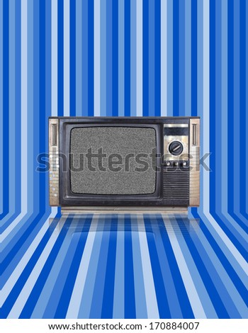 Vintage tv with blue stripes background - stock photo