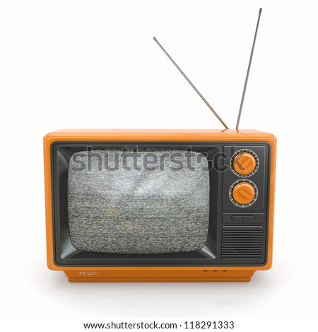 Vintage tv with noise screen on white background. 3d - stock photo