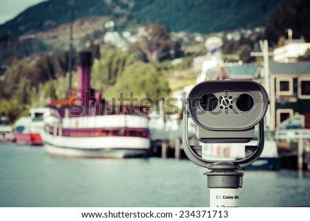 Vintage twin screw steamer - symbol of Lake Wakatipu and Queenstown in New Zealand. - stock photo