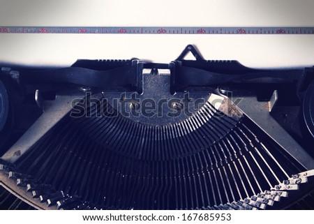 Vintage typewriter,closeup. - stock photo
