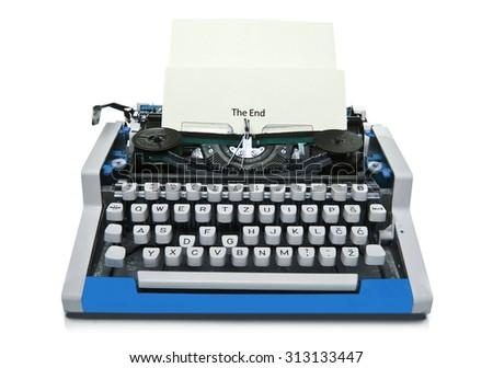Vintage typewriter isolated - stock photo