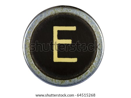 Vintage typewriter letter E isolated on white - stock photo