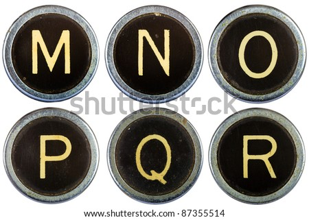 Vintage typewriter letters MNOPQR isolated on white - stock photo