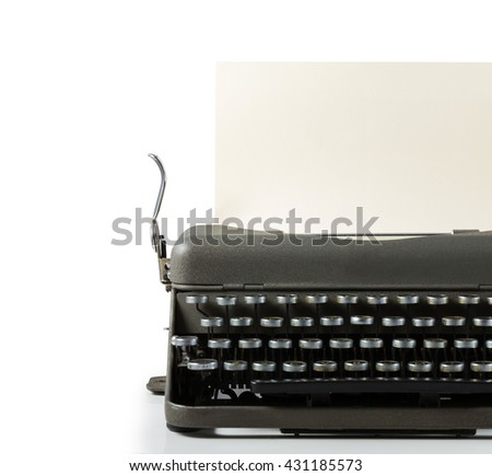 Vintage typewriter with paper isolated on white background - stock photo