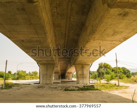 Vintage under view old tollway in thailand - stock photo