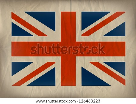 Vintage Union Jack flag on crumpled brown paper. Also available in vector format. - stock photo