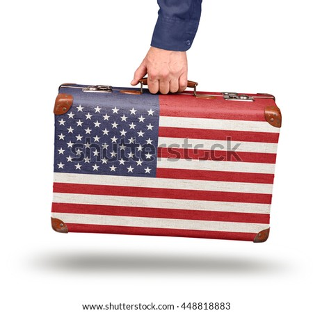Vintage United states flag suitcase isolated on white travel to USA concept - stock photo