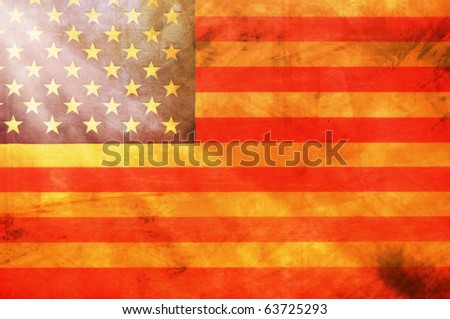 Vintage United States Flag with light streaming through - stock photo