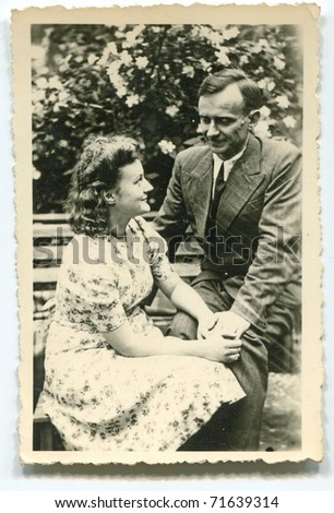 Vintage unretouched photo of couple (forties) - stock photo