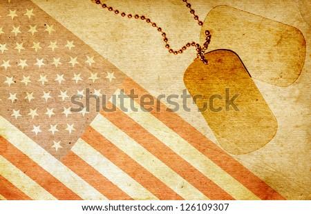 Vintage USA flag and ID tags - stock photo