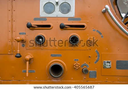 vintage valve main control Fire truck car firefighter rescue - stock photo