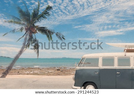 vintage van in the beach with a surfboard on the roof,vintage effect filter style pictures - stock photo