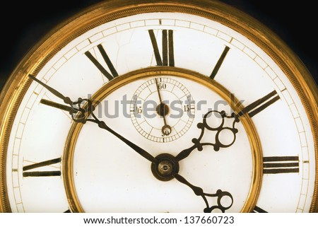 Vintage Victorian Old Clock Face with Roman Numerals - stock photo