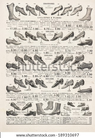 vintage victorian shoes collection. antique shop advertising, page of shopping catalog La Samaritaine, Paris, France, circa 1898 - stock photo