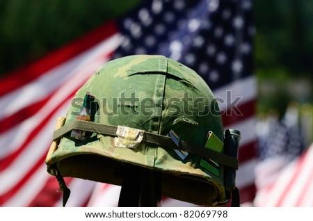 Vintage Vietnam era helmet at a celebration of Veterans of Foreign Wars in Sutherlin Oregon - stock photo
