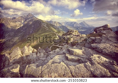 Vintage view from Kasprowy Wierch in High Tatra Mountains, Poland  - stock photo
