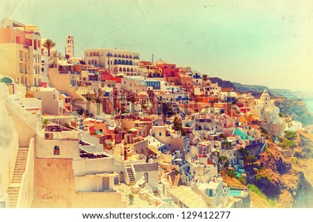 Vintage view of amazing Thira. Santorini, Greece. Retro style photo. - stock photo