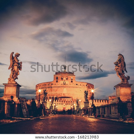 Vintage View of Castel Sant'Angelo from the Ponte Sant'Angelo bridge, Rome. - stock photo
