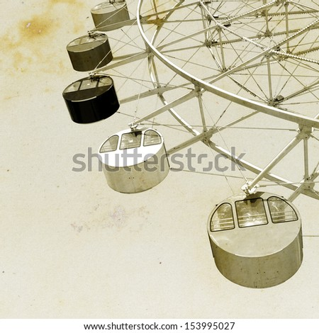 vintage view of Ferris wheel amusement park ride.  - stock photo