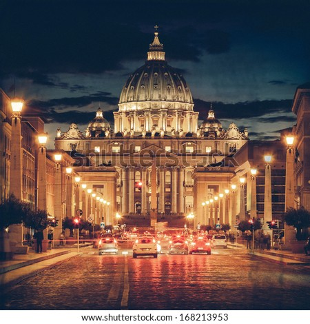 Vintage View of the Basilica church Saint Peter, at dusk - Rome - stock photo