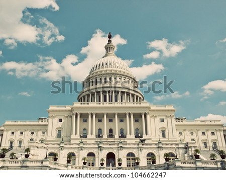 Vintage View of Washington Capitol, USA - stock photo