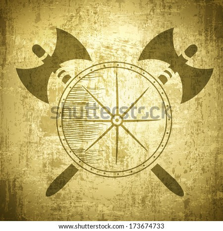 Vintage Viking Grunge Background With Axes and Shield - stock photo