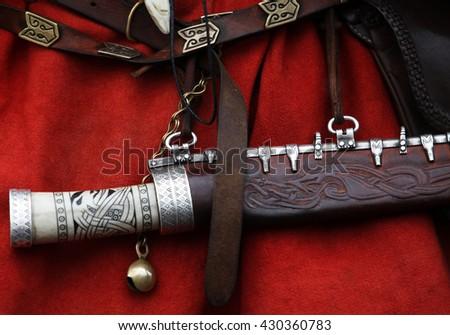 Vintage viking knife - stock photo