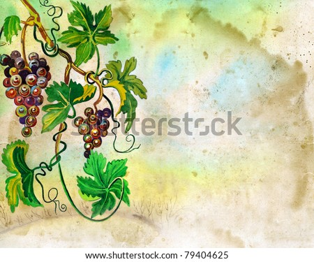 Vintage vineyard watercolor painting with space for text - stock photo