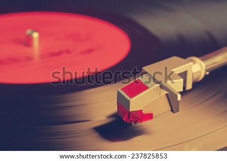 vintage vinyl player, retro film filtered, instagram style  - stock photo