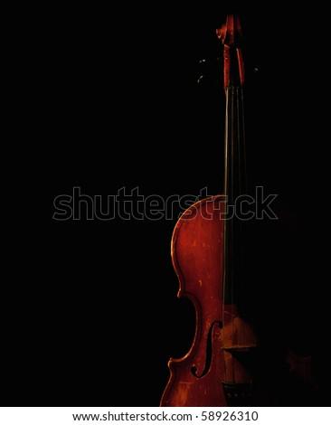 vintage violin silhouette - stock photo