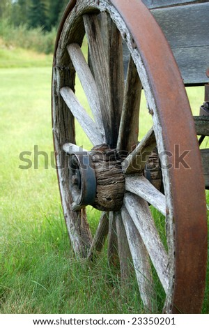 Vintage wagon wheel - stock photo