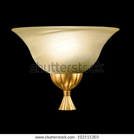 vintage wall lamp isolated on black with clipping path - stock photo