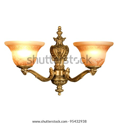 vintage wall lamp isolated on white with clipping path - stock photo