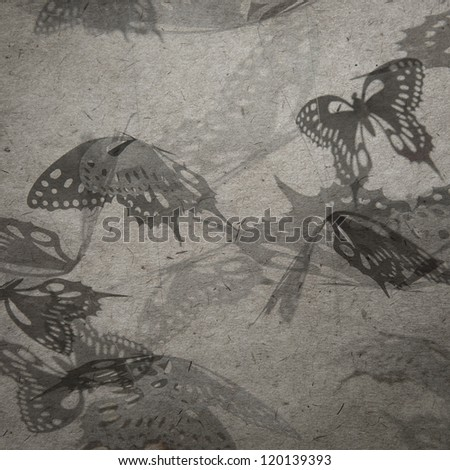 vintage wallpaper background with butterfly - stock photo